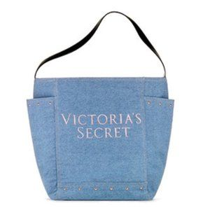 Victoria's Secret Denim Rose Gold Studded Tote Bag